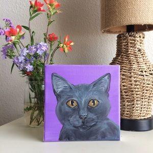Blue Russian grey cat painted canvas shelf decor